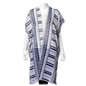 Multi Color 100% Polyester Santa Fe Pattern Kimono (29.53x38.19 in)