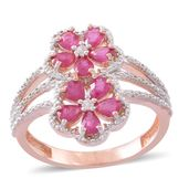 Burmese Ruby, Cambodian White Zircon 14K RG Over Sterling Silver Floral Ring (Size 9.0) TGW 1.86 cts.