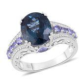 London Blue Topaz, Tanzanite Sterling Silver Ring (Size 7.0) TGW 7.03 cts.