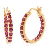 Burmese Ruby 14K YG Over Sterling Silver Inside Out Hoop Earrings TGW 3.18 cts.