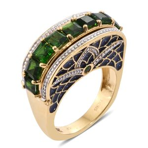 GP Russian Diopside 14K YG Over Sterling Silver Enameled Ring (Size 7.0) TGW 3.55 cts.