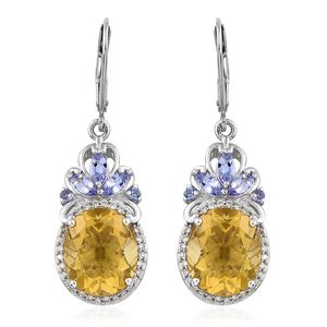 Canary Fluorite, Tanzanite, Cambodian Zircon Platinum Over Sterling Silver Lever Back Earrings TGW 12.99 cts.