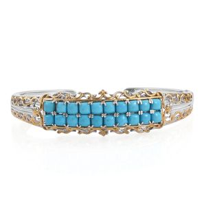 Arizona Sleeping Beauty Turquoise 14K YG and Platinum Over Sterling Silver Cuff (6.75 in) TGW 6.00 cts.