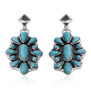 Santa Fe Style Kingman Turquoise Sterling Silver Drop Flower Earrings TGW 4.75 cts.