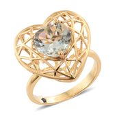 GP Green Amethyst 14K YG Over Sterling Silver Heart Ring (Size 10.0) TGW 4.43 cts.