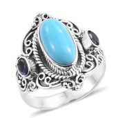 Artisan Crafted Arizona Sleeping Beauty Turquoise, Catalina Iolite Sterling Silver Ring (Size 8.0) TGW 3.04 cts.