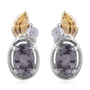 Platinum Spinel, Cambodian Zircon 14K YG and Platinum Over Sterling Silver Earrings TGW 1.22 cts.