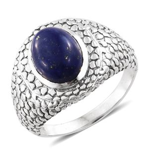 Lapis Lazuli Sterling Silver Men's Ring (Size 11.0) TGW 6.45 cts.