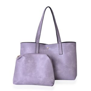 Gray Faux Leather Tote Bag (18x6x10.5 in) and Pouch Set (11x2.5x8 in)