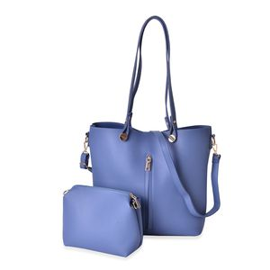 Blue Faux Leather Tote Bag (14.4x11.2x12.2 in) and Pouch Bag (7.2x3.4x7 in)