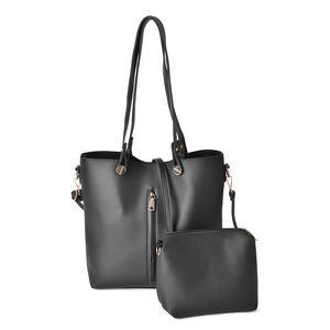 Black Faux Leather Tote Bag (14.4x11.2x12.2 in) and Pouch Bag (7.2x3.4x7 in)