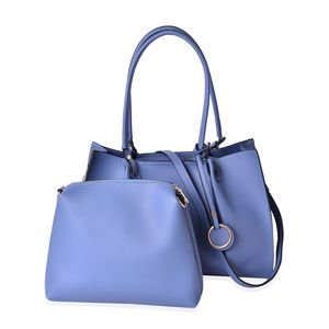 Blue Faux Leather Tote Bag Tote Bag (15.2x5.2x10.2 in) and Pouch Bag (10.6x2.40x9 in)