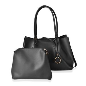 Black Faux Leather Tote Bag (15.2x5.2x10.2 in) and Pouch Bag (10.6x2.40x9 in)