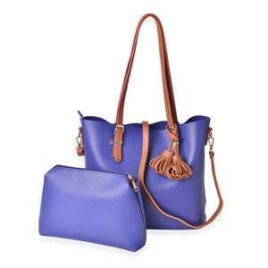 Blue and Brown Faux Leather Tote Bag (15.4x13x11.3 in) and Pouch Bag (11x2.4x7.4 in)