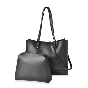 Black Faux Leather Tote Bag (14x4.5x12 in) with Matching Pouch Bag (11.5x1.5x8 in) and Removable Strap