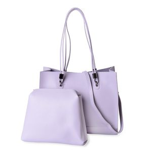 Lilac Faux Leather Tote Bag (14x4.5x12 in) with Matching Pouch Bag (11.5x1.5x8 in) and Removable Strap