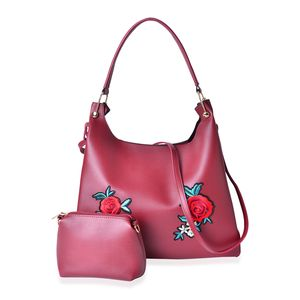 Maroon Faux Leather Eye-Catching Floral Embroidery Tote Bag (15x5x12 in) with Matching Pouch (9x3x6 in)