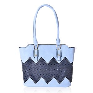 Blue and Navy Faux Leather Tote Bag (15.4x12.6x11 in)