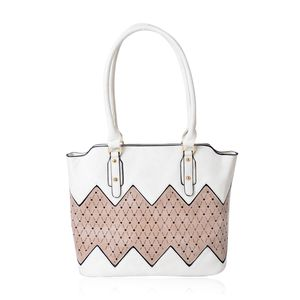 Off White and Tan Faux Leather Tote Bag (15.4x12.6x11 in)
