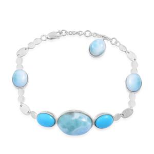 Inspire by Liz Fuller, Larimar, Arizona Sleeping Beauty Turquoise 935 Argentium Silver Bracelet (8.00 In) TGW 29.45 cts.