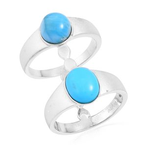 Inspire by Liz Fuller, Larimar, Arizona Sleeping Beauty Turquoise 935 Argentium Silver Open Double Band Ring (Size 6.0) TGW 4.80 cts.