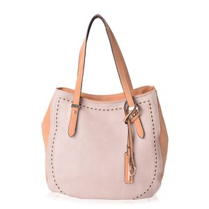 Tan and Camel Faux Leather Tote Bag (12.4x5x11.6 in)