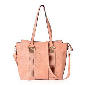 Orange Faux Leather Laser-cut Checks Pattern Tote Bag (15.2x12.4x11 in)