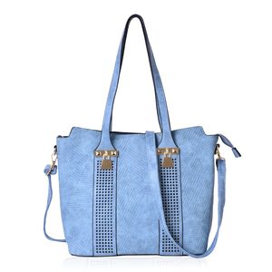 Blue Geometric Pattern Faux Leather Laser-cut Shoulder Bag with Standing Studs and Removable Strap (14x6x11 in)