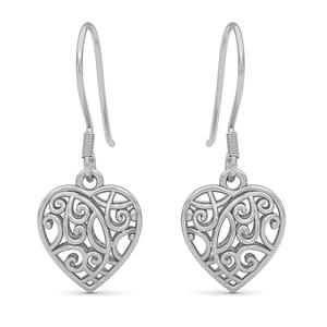 Platinum Over Sterling Silver Earrings