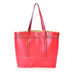 Red Faux Leather Laser-cut Tote Bag (14x4x12 in)