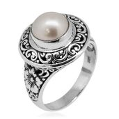 Bali Legacy Collection South Sea Silver Pearl (9.5 mm) Sterling Silver Floral Openwork Ring (Size 9.0) TGW 8.00 cts.