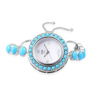 EON 1962 Arizona Sleeping Beauty Turquoise Swiss Movement Magic Ball Bracelet Watch in Sterling Silver with Stainless Steel Back (Adjustable) TGW 8.10 cts.