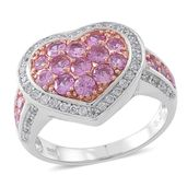 Madagascar Pink Sapphire, Cambodian White Zircon 14K RG Over Sterling Silver Heart Ring (Size 7.0) TGW 2.29 cts.