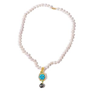 Tahitian Pearl (8.5-9mm), Arizona Sleeping Beauty Turquoise, Freshwater Pearl, Malgache Neon Apatite 14K YG Over Sterling Silver Pendant With Necklace (18 in) TGW 1.65 cts.