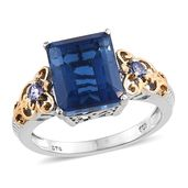 Brazilian Azul Quartz, Tanzanite 14K YG and Platinum Over Sterling Silver Ring (Size 11.0) TGW 7.11 cts.