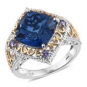 Brazilian Azul Quartz, Tanzanite 14K YG and Platinum Over Sterling Silver Openwork Ring (Size 10.0) TGW 7.80 cts.