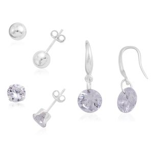 Simulated Diamond Sterling Silver Set of 3 Earrings TGW 9.78 cts.