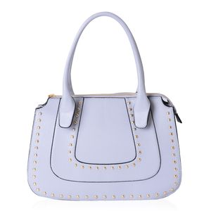 Light Blue Studded Faux Leather Structure Shoulder Bag (14.5x4.5x10 in)