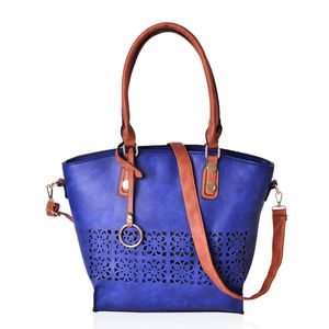 Budget Pay Bonanza Blue and Brown Faux Leather Laser-cut Tote Bag with Removable Strap and Key Strap (13x5x12 in)