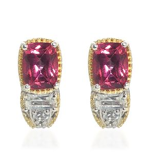 Rose Danburite, White Topaz 14K YG and Platinum Over Sterling Silver Earrings TGW 3.95 cts.