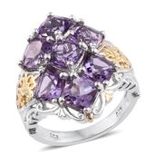 Rose De France Amethyst 14K YG and Platinum Over Sterling Silver Ring (Size 5.0) TGW 7.36 cts.