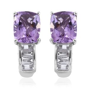 Rose De France Amethyst, White Topaz Platinum Over Sterling Silver J-Hoop Earrings TGW 7.04 cts.