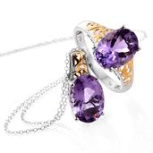 Rose De France Amethyst 14K YG and Platinum Over Sterling Silver Ring (Size 11) and Pendant With Chain (20 in) TGW 10.40 cts.