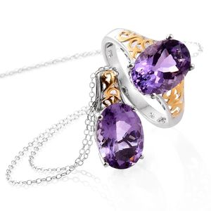 Rose De France Amethyst 14K YG and Platinum Over Sterling Silver Ring (Size 8) and Pendant With Chain (20 in) TGW 10.40 cts.