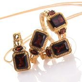 Mozambique Garnet 14K YG Over Sterling Silver Earrings, Ring (Size 8) and Pendant With Chain (20 in) TGW 12.10 cts.
