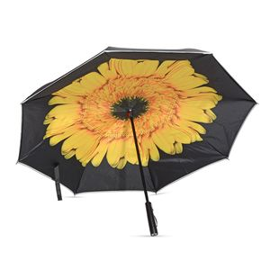 Yellow Flower Pattern Polyester Double Layer Inverted Umbrella with LED Light Handle (31 in)