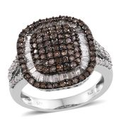 Diamond, Natural Champagne Diamond Black Rhodium & Platinum Over Sterling Silver Ring (Size 7.0) TDiaWt 1.50 cts, TGW 1.50 cts.