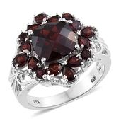 Mozambique Garnet Platinum Over Sterling Silver Ring (Size 5.0) TGW 7.46 cts.