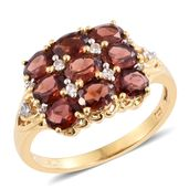 Mozambique Garnet, Cambodian Zircon 14K YG Over Sterling Silver Ring (Size 6.0) TGW 4.31 cts.