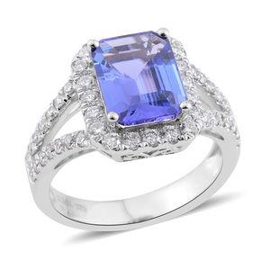 ILIANA 18K WG Premium AAA Tanzanite, Diamond Split Ring (Size 6.0) TDiaWt 0.46 cts, TGW 2.40 cts.